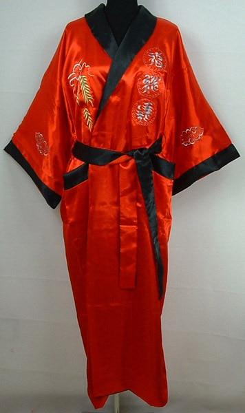 Röd-svart två-ansikte kinesisk damdräkt Mujeres Pijama vändbar siden Satin Kimono broderiklänning Dragon One Size S0004