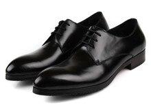 Мода черный/красный острым носом бизнес обувь мужская туфли из натуральной кожи формальные свадебные туфли оксфорды обувь