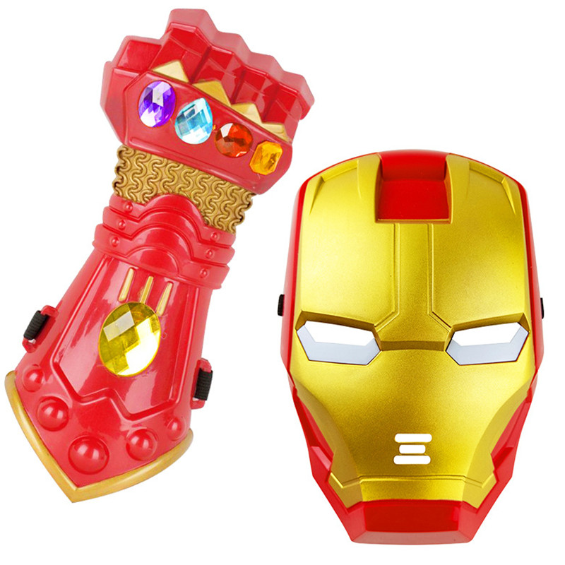 New Design Avengers Thanos Action Figure Infinity Gauntlet Iron Man Thanos Glove LED Light Mask Model Toy Cosplay Kids Boys Toy