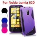 Capa para Nokia Lumia 620, silicone suave TPU Gel S linha de onda da pele de volta caso
