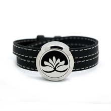 BOFEE Lotus Aromatherapy Diffuser Bracelet Essential Oil Locket Chain Stainless Steel Screw Yoga Leather Jewelry 25mm