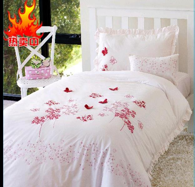 good quailty 100 cotton butterfly bedding full queen embroidery bed sheets kids white quilt covers bedding - Kids Full Sheets