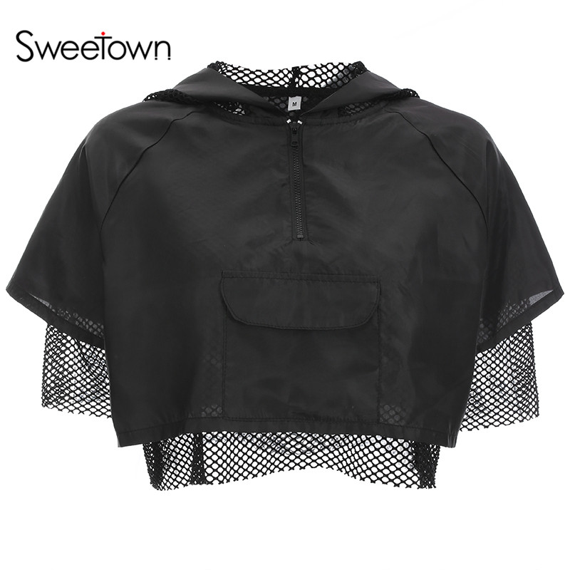 Sweetown Plus Size Crop Top Mesh Patchwork Half Sleeve T Shirt