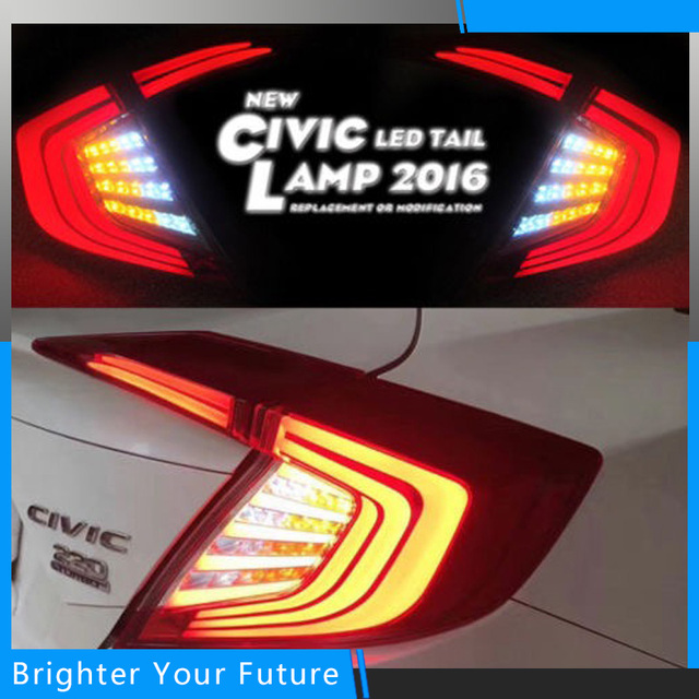 Vland New Style LED Tail Lights For Honda Civic 2016 2017 Tail Lamp Rear  Trunk Lamp