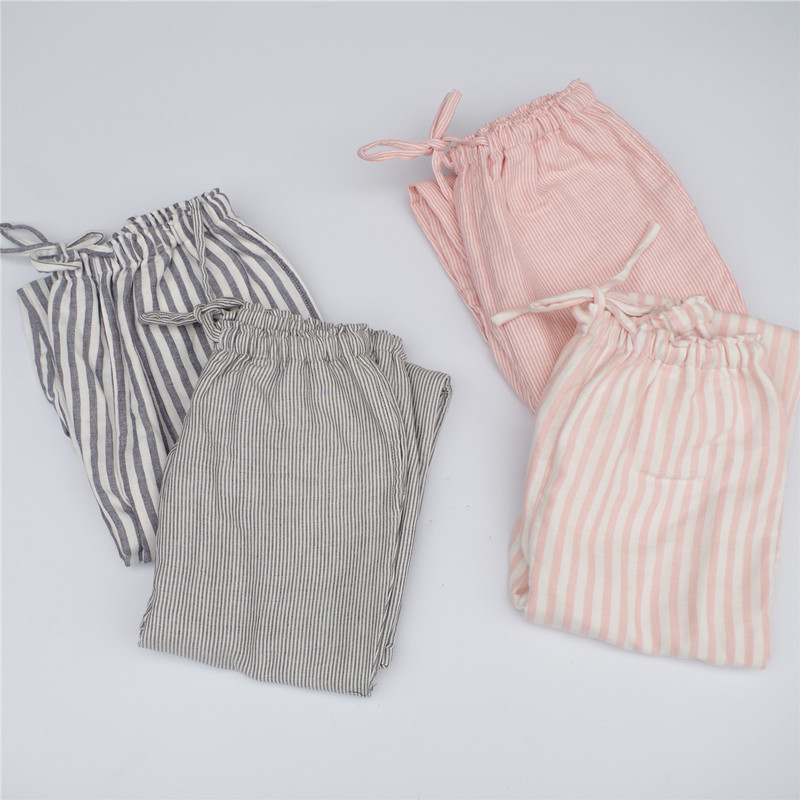 Summer Women Cotton Striped Pajamas Pants Female Lounge Pants Loose Casual Home Pant Underwear Trousers WS209