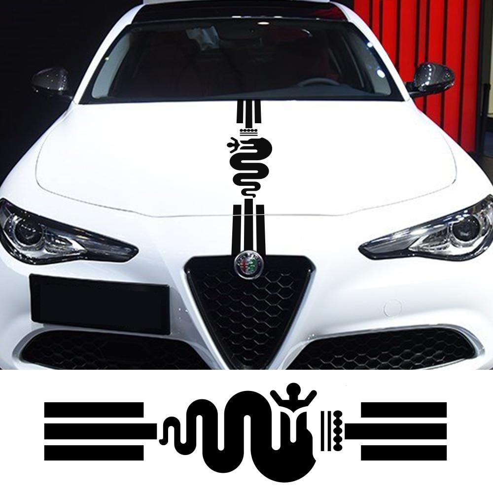 Hood Cover Car Stickers Vinyl Auto For Alfa Romeo 159 Giulietta Giulia 147 156 Mito Stelvio GT Sportiva Car Tuning Accessories