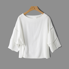 Women's 2017 summer simplicity white silk shirt with hollow out batwing sleeve