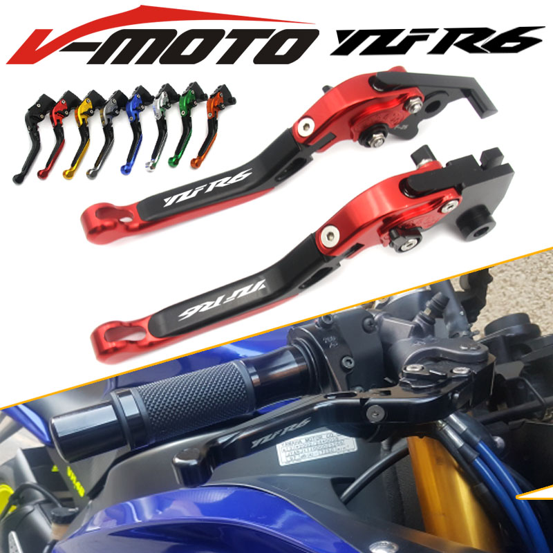 CNC Adjustable Foldable Extendable Motorbike Brakes Clutch Levers For YAMAHA R6 YZF600 YZF-R6 2005 2006 2007 2008 2009-2016 2015 cnc brake clutch levers for yamaha yzfr6 yzf r6 yzf r6 yzf600 yzf r 6 yzf r6 1998 1999 2000 2001 2002 extendable foldable lever