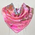 2015 Мода Подарок Темно-Розовый 100% Шелковый шарф Для Женщин, 90*90 см Горячие Продажа Женщины Шарфы Печатные, 100% Шелк Креп-Сатин Шарф