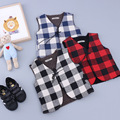 1-4 Years 2017 Spring New Arrival Fashion Casual Children Boy Vest Plaid V-Neck Sleeve Slim Coat Clothes Outwear For Kids