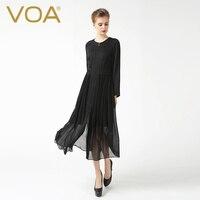 VOA Black Jacquard Silk O Neck Trench Long Sleeve Zip Elegant Thin Autumn Long Coat F6089