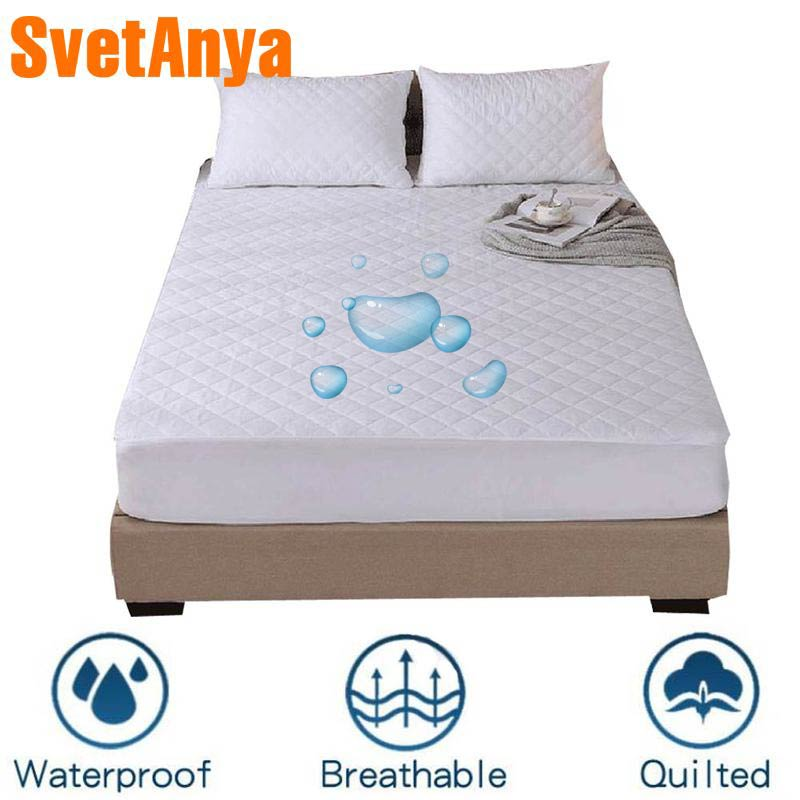 Svetanya Waterproof Fitted Sheets Elastic Bedsheet Mattress Cover Protective Case Single Twin Full Queen King Size White