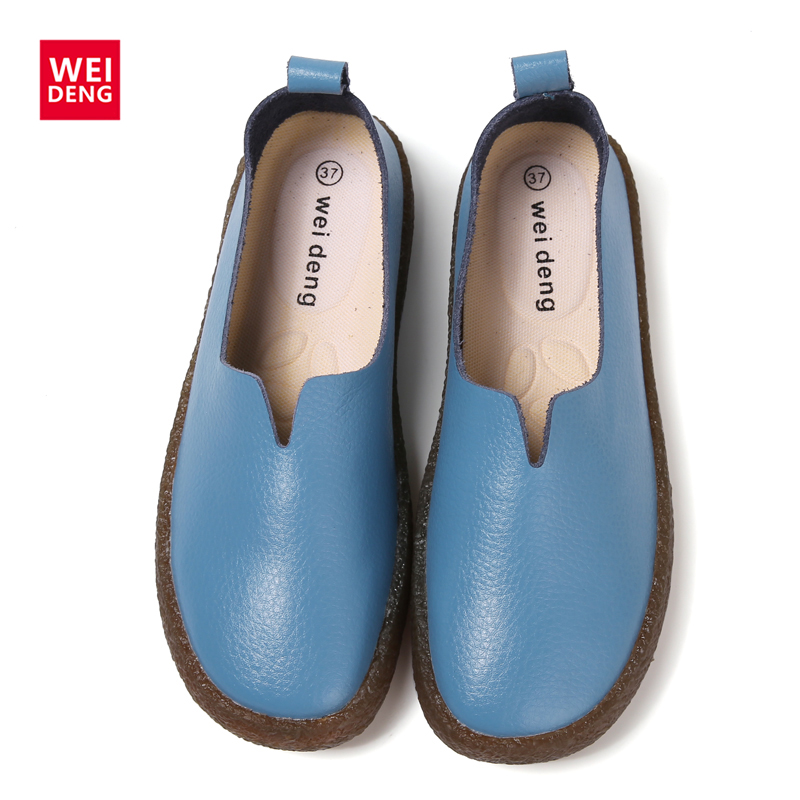 WeiDeng Women Shoes Autumn Rubber Personality V-type Mouth Soft Genuine Leather Flats Slip On Round Toe Comfort Casual Loafers new brand autumn women metal flat shoes casual lady slip on flats soft soled natual leather pointed toe shoes comfort female