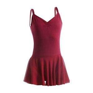 Image 1 - 大人のバレエドレスダブルスパゲティストラップノースリーブレオタードバレエボディスーツメッシュスカートダンスレオタード女性のための