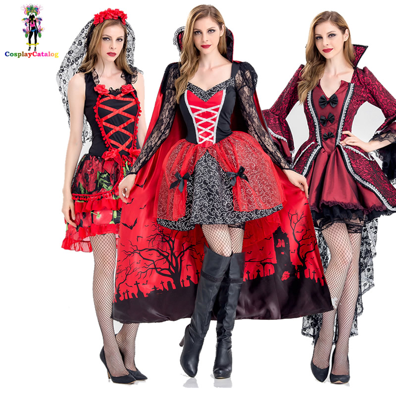 Deluxe <font><b>Halloween</b></font> <font><b>Sexy</b></font> Adult Women Vampire Costumes Victorian Vamp Fancy Party <font><b>Dress</b></font> Witch Female Costumes Zombie Uniforms image