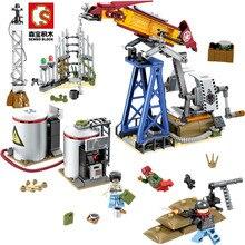 Sembo Diamon Nano Blocks Black Gold Military Series Oil Drilling Base Technic Voiture  Building Brick Educational Toys Gift