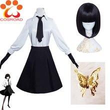 Cosroad – Costumes de Cosplay de chiens errants de l'anime Bungo Akiko Yosano, uniforme scolaire, perruque de jeu d'halloween