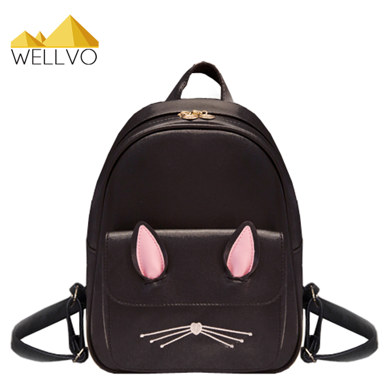 Cat Ear Leather Backpack Women Backpacks School Bags For Teenage Girls Rucksack Kids Lovely Cute Travel Bag Mochila Cats XA2037C vintage casual leather travel bags famous brand school backpacks women bag mochila backpack lovely girls school bags ladies bag