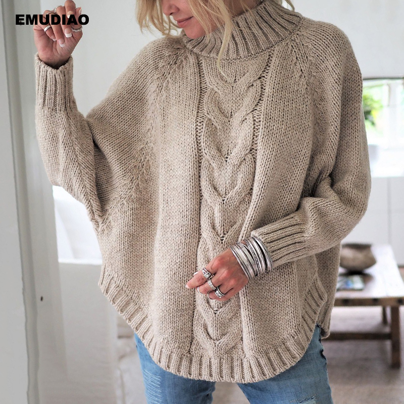 Turtleneck Sweater Women Loose Knitted Pullover Jumper Woman Winter 19 Autumn Streetwear Plus Size Pink Pull Femme Mujer Unif 3