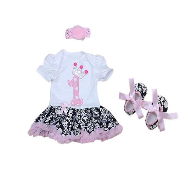 3PCs per Set Baby Girl Infant ClothingRetro Floral Pattern First Birthday Crown Tutu Dress Headband Shoes for 0-18Months