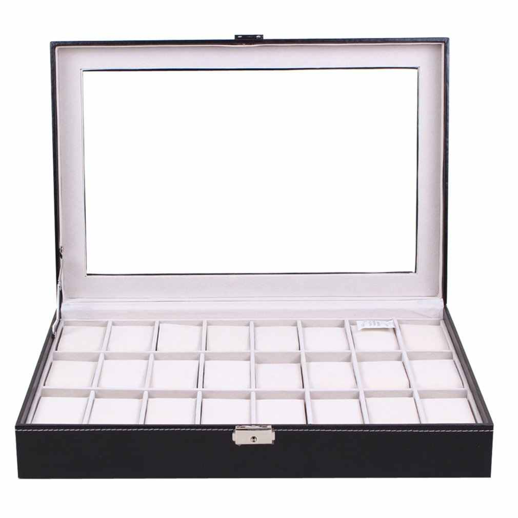 24 Grids PU Leather Watch Box Black Jewelry Storage Case Organizer Classical Holder Foam Pad Pillow Transparent Glass
