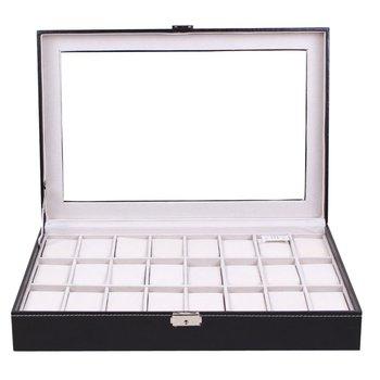 24 Сетки PU кожаный ящик для часов черный ювелирные изделия Организатор хранения данных классический держатель пенопластовая Подушка прозра...