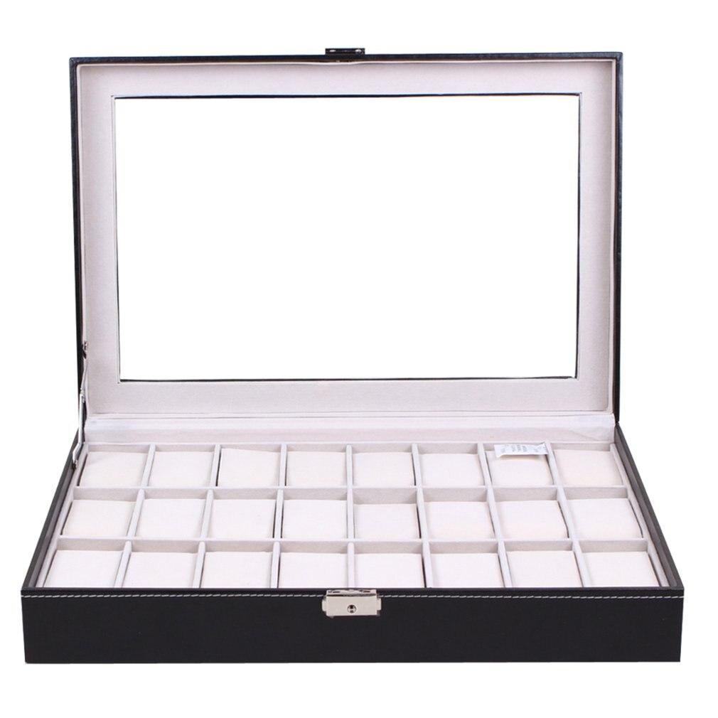 24 grilles PU cuir montre boîte noir bijoux mallette de rangement organisateur classique titulaire mousse Pad oreiller Transparent verre