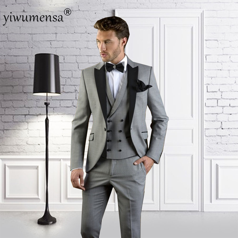 Marke 3 Stück Anzug Männer 2018 Frühjahr Neue Lässige Anzüge Herren Hochzeit Bräutigam Groomsmen Smoking Anzug Kunden Zuerst jacke + Weste + Hose