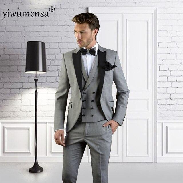 Yiwumensa 2018 Gris noir Hommes Costume Slim Fit Bal De Mariage Smoking  Moderne Blazer Mariage Marié 3d1ff430444