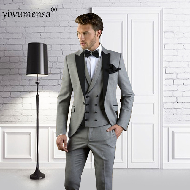 yiwumensa 2018 Grey With black Men Suit Slim Fit Prom Wedding Party ...