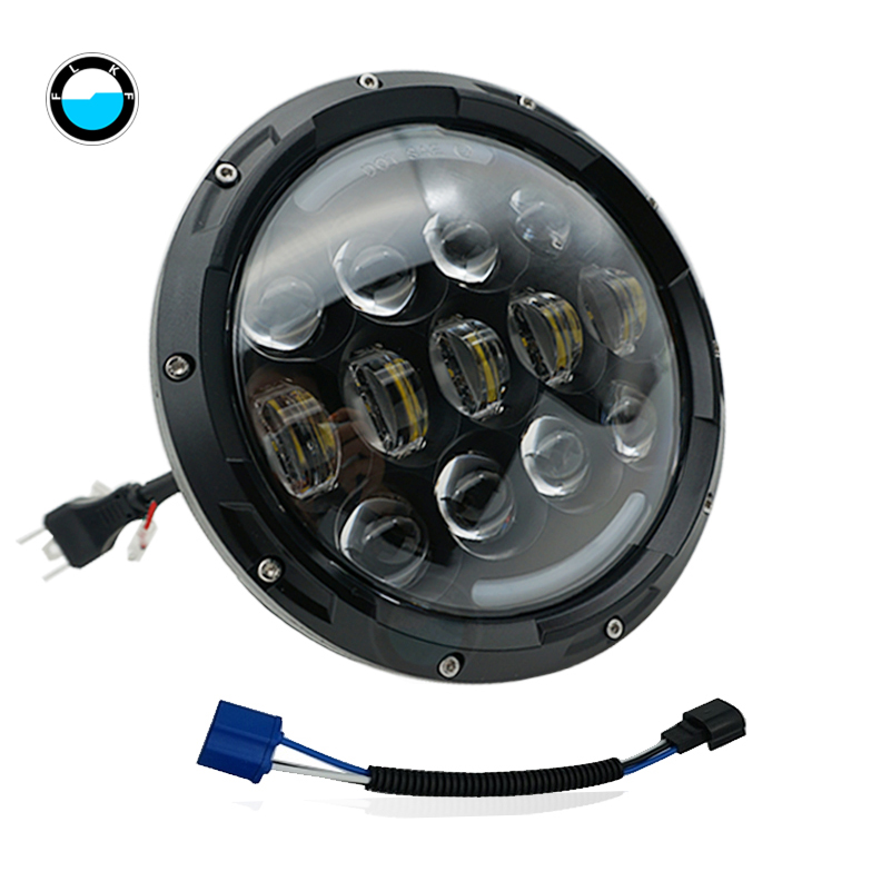 7 Inch 105W Motorcycle LED Headlight Hi/Lo Beam DRL H4 To H13 Plug For Jeep Wrangler JK JKU CJ Tj Patrol Y60 Harley Street Glide 1pc round 75w 7 inch led headlight motorcycle for harley with drl hi lo beam 7 head lamp for led jeep wrangler headlights