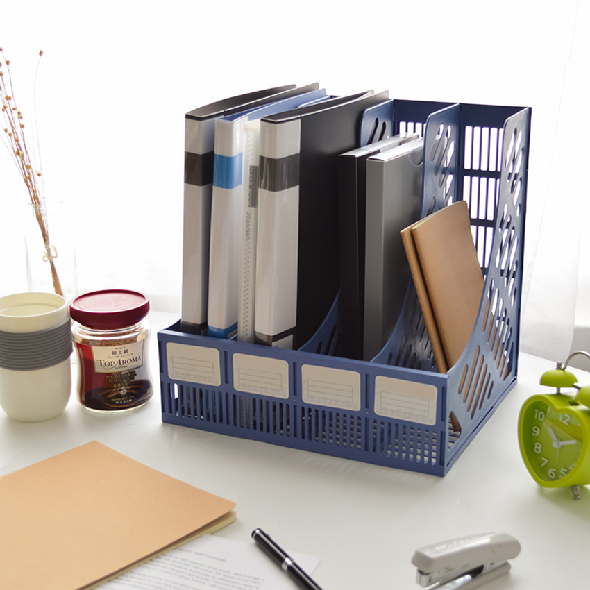 4 Sections Mesh Files Shelf Desktop File Rack Paper Book Holder Document Tray Organizer Storage Box School Office Supplies