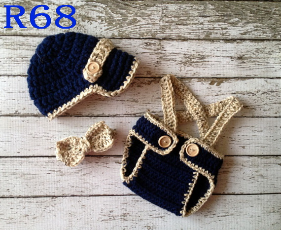 bad93b66f808 Crochet Baby Three piece (hat+Diaper Cover+Bow) set Handmade Baby ...