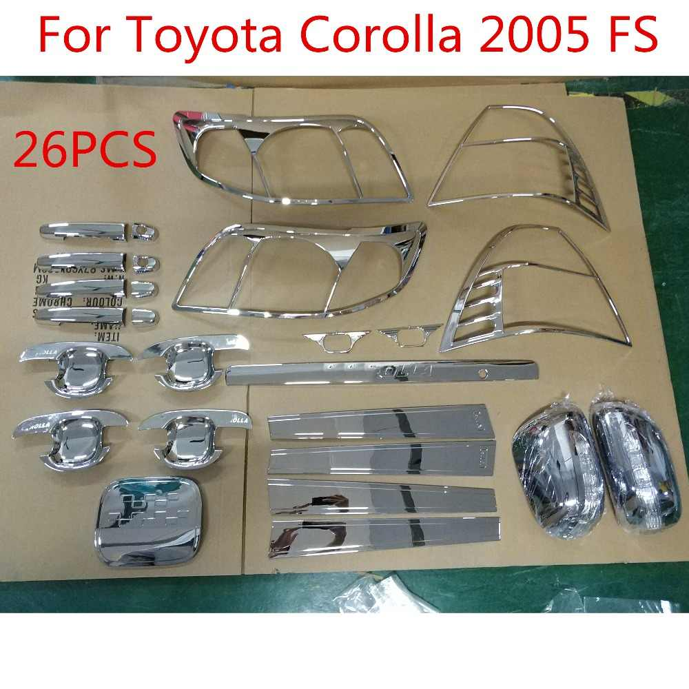 For Toyota Corolla 2005 FS High-quality 26PCS ABS Chrome plated trim accessories plated car styling light cover