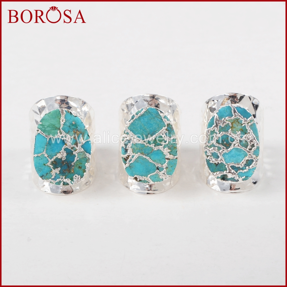 BOROSA Silver Color 100% Natural Blue Stone Druzy Band Ring, Wholesale Drusy Bang Rings Jewelry as Gift S1284