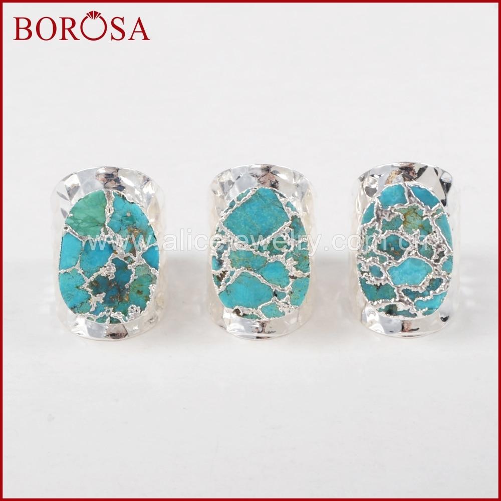 BOROSA ασημένιο χρώμα 100% φυσικό μπλε πέτρα Druzy ζώνη ζώνη, χονδρικής Drusy Bang δακτυλίους κοσμήματα ως δώρο S1284