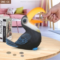 Children's piggy bank resin imitates bird animal banknotes and coins Money saving box Home decoration money box free delivery