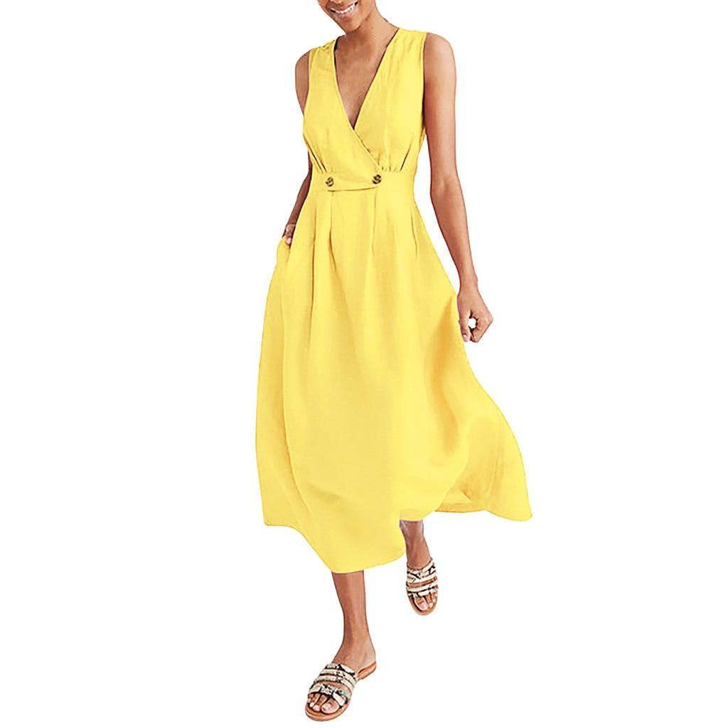 KLV 2020 summer dress Womens latest fashion платье V-Neck Pure Color Vest Sleeveless Easy Sandy Beach Dress free shipping D4
