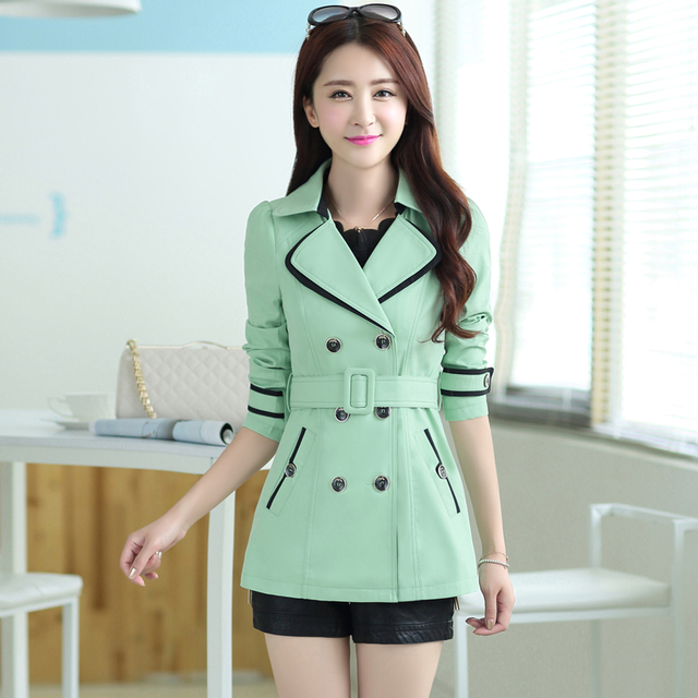 2016 outono nova roupa das mulheres plus size curto trincheira magro projeto outerwear Mulheres blusão