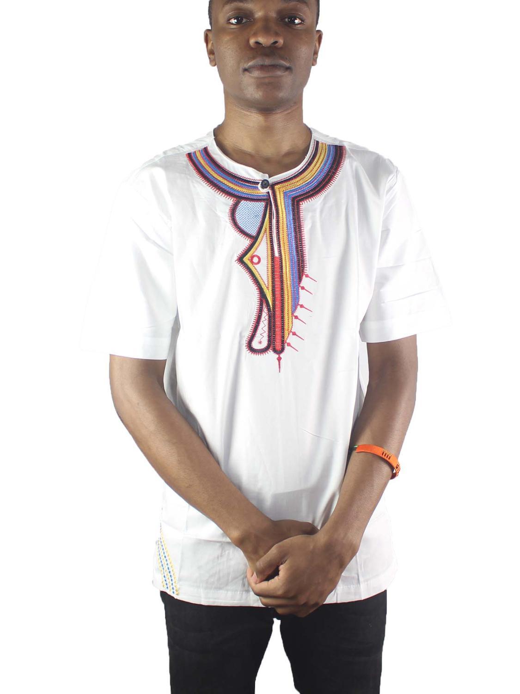 Africa White Irregular Embroidery Men`s Ethnic Tops Short Sleeved Henley Shirts for Summer
