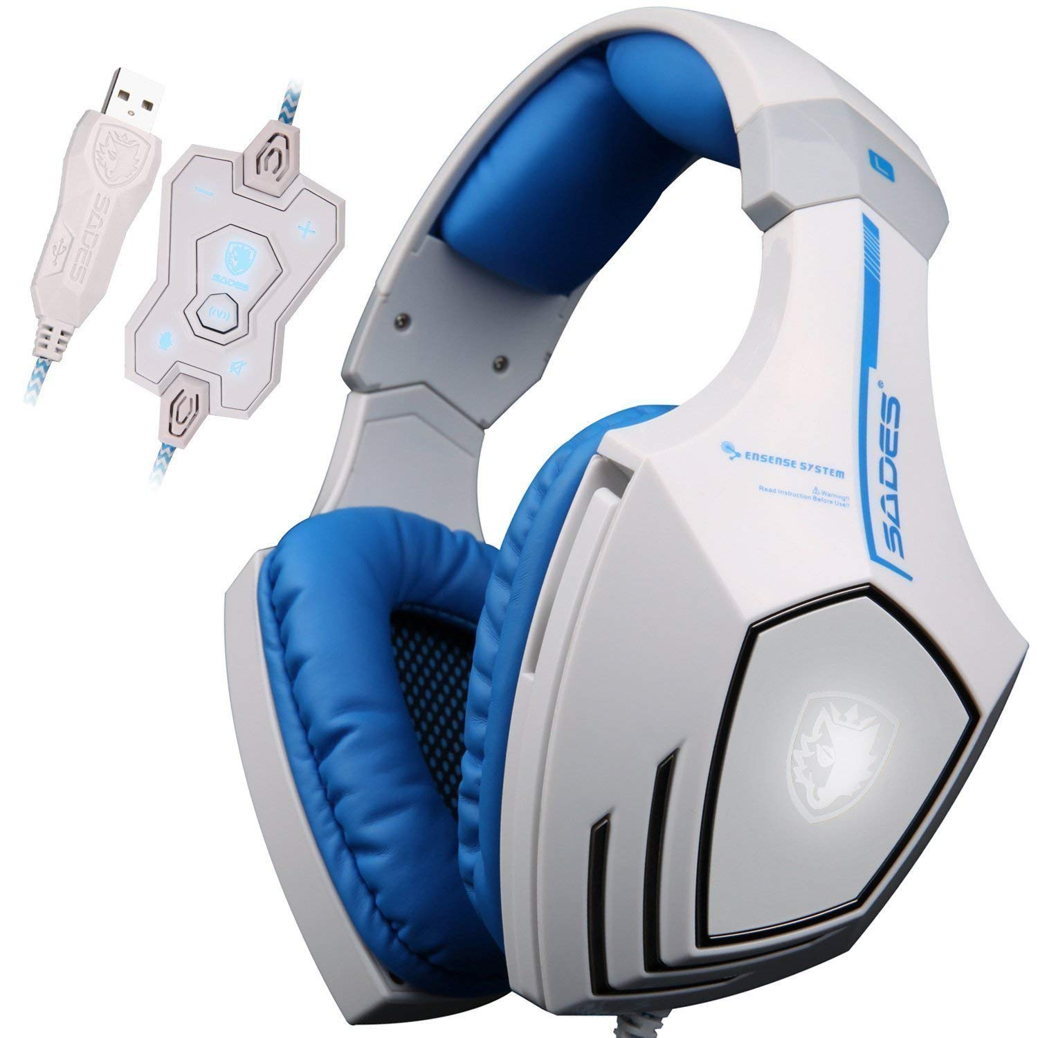PC Gaming Headphone Headset A60 7.1 USB Surround Sound Stereo Over-Ear with Mic Bass,Vibration,Noise-Canceling,Volume Control sades a60 pc gamer headset usb 7 1 surround sound pro gaming headset vibration game headphones earphones with mic for computer