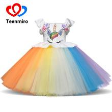Teenmiro Girls Dresses 2018 Unicorn Party Dress For Kids Vestido Children Vest Striped Rainbow Princess New Unicornio Robe Fille(China)