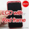 Novo display lcd original com tela sensível ao toque digitizier assembléia e moldura vermelha capa de reposição para htc incredible s s710e g11