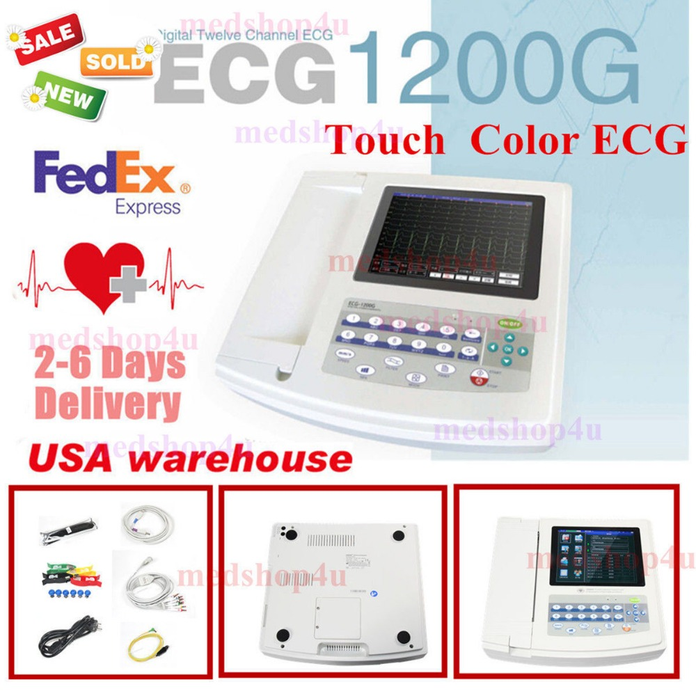 Contec 12-Channel 12 Lead ECG/EKG Electrocardiograph,Realtime Analysis NEW promise china ecg supplier single channel electrocardiograph with software pro ecg01g
