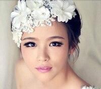 Vente chaude arrivée de nouveaux mode main fleurs en dentelle mariage coiffure de mariée accessoires cheveux pas cher bandeaux