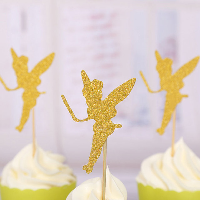 10pcs Flower Fairy Gold Silver Cupcake Topper Wedding Kids Birthday ...