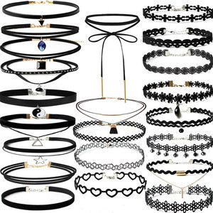 Stylish Jewelry New 2018 Sexy Lady 8/22 Pieces Choker Necklace Set Stretch Velvet Classic Gothic Tattoo Lace Choker Boho Neck #1