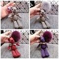 Пушистый натурального меха лисы мяч Pom плюшевый мишка брелок медведь брелок женщины сумка-аксессуары шкентель мешка