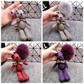 Fluffy Genuine Fox Fur Ball Pom Pom Mini Plush Stuffed  Teddy Bear Keychain Bear Key Chain Women Bag Accessories Bag Pendant