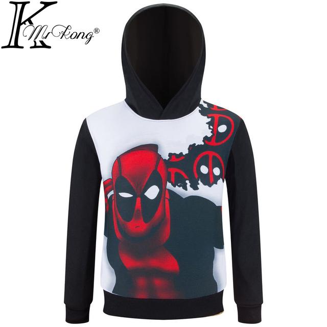 Deadpool 2016 Novas crianças modelos primavera hoodies menino e menina casaco moletom